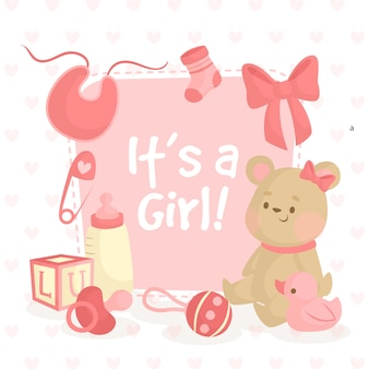 Baby shower illustration with teddy bear for girl