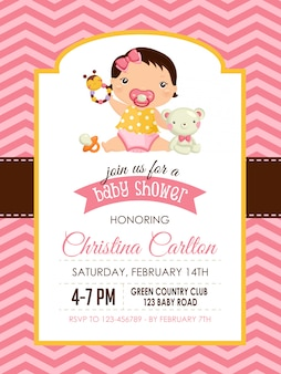 Baby shower invitation for baby girl