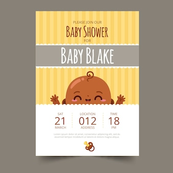 Baby shower invitation boy illustration