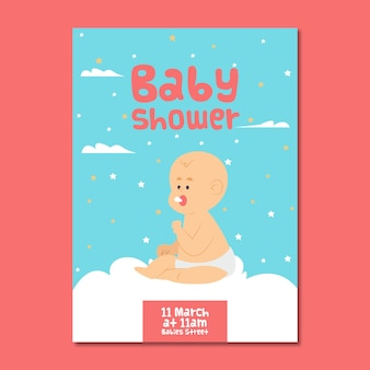 Baby shower invitation for boy with illustration