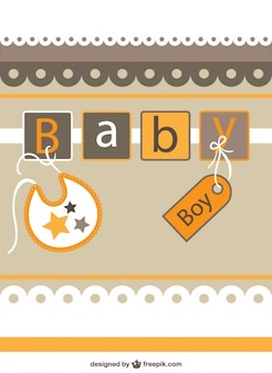 Baby shower invitation in brown and yellow tones