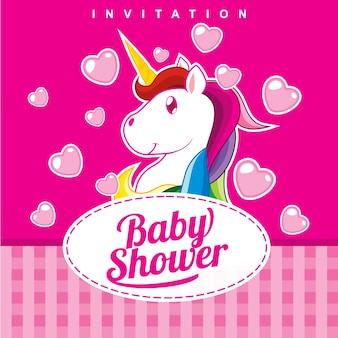 Baby shower invitation card design - girl version