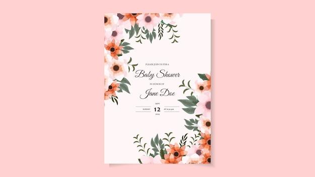Шаблон оформления приглашения детского душа красочная цветочная открытка на детский душ с милыми цветами