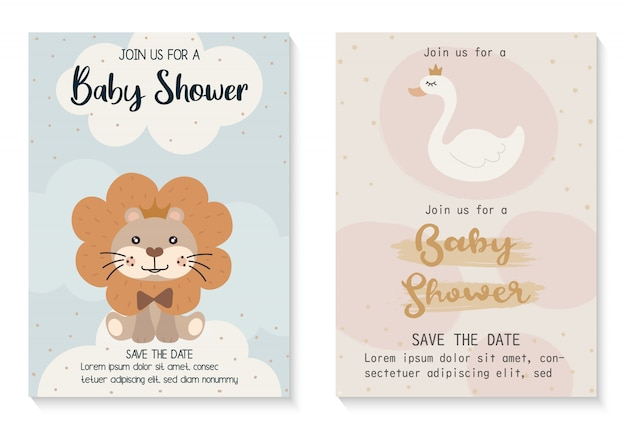 Baby shower invitation card design template.