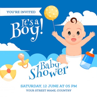 Baby shower invitation card design with cute baby boy, elements