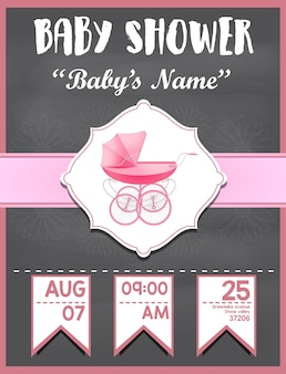 Baby shower invitation card for girl baby