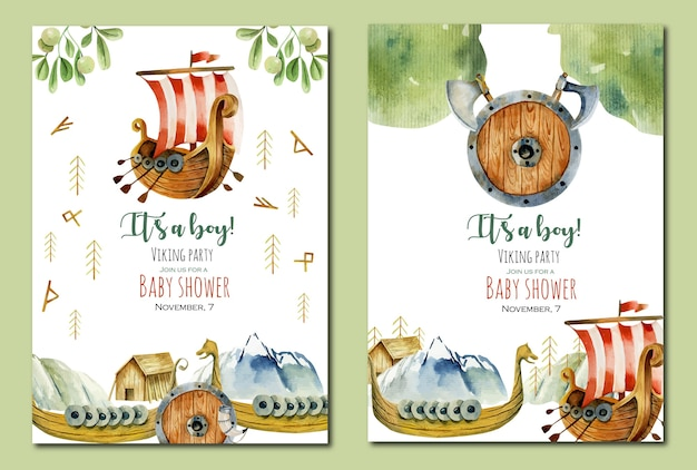 Baby shower invitation card set with watercolor elements of viking culture