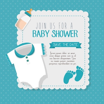 Baby shower invitation card vector illustration design