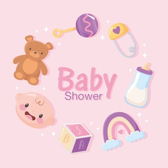 Baby shower, invitation card with bear face boy rattle rainbow and block