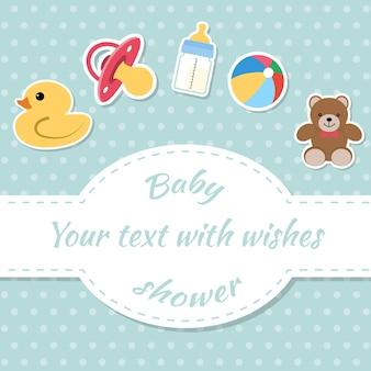 ベビーシャワーの招待カード。 Premiumベクター