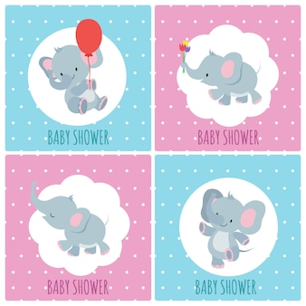 Baby shower invitation cards with cute cartoon elephants  set
