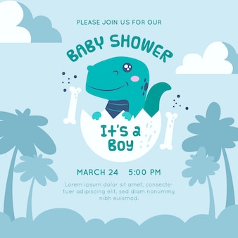 Baby shower invitation dinosaur design