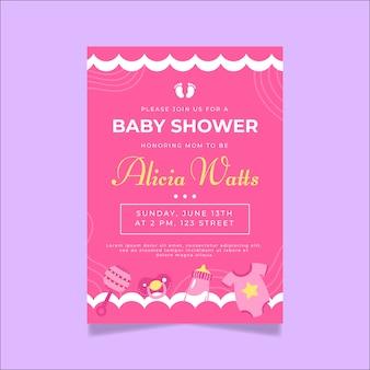 女の赤ちゃんのベビーシャワーの招待