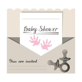 Baby shower invitation to gift welcome the child