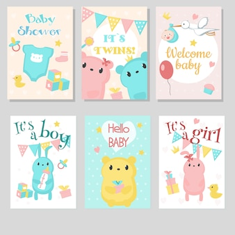 Baby shower invitation greeting cardset.