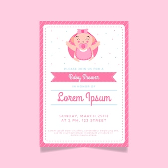 Baby shower invitation illustrated for girl