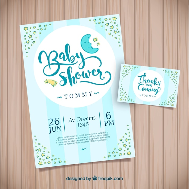 Free Baby Shower Invitation In Hand Drawn Style Svg Dxf Eps Png