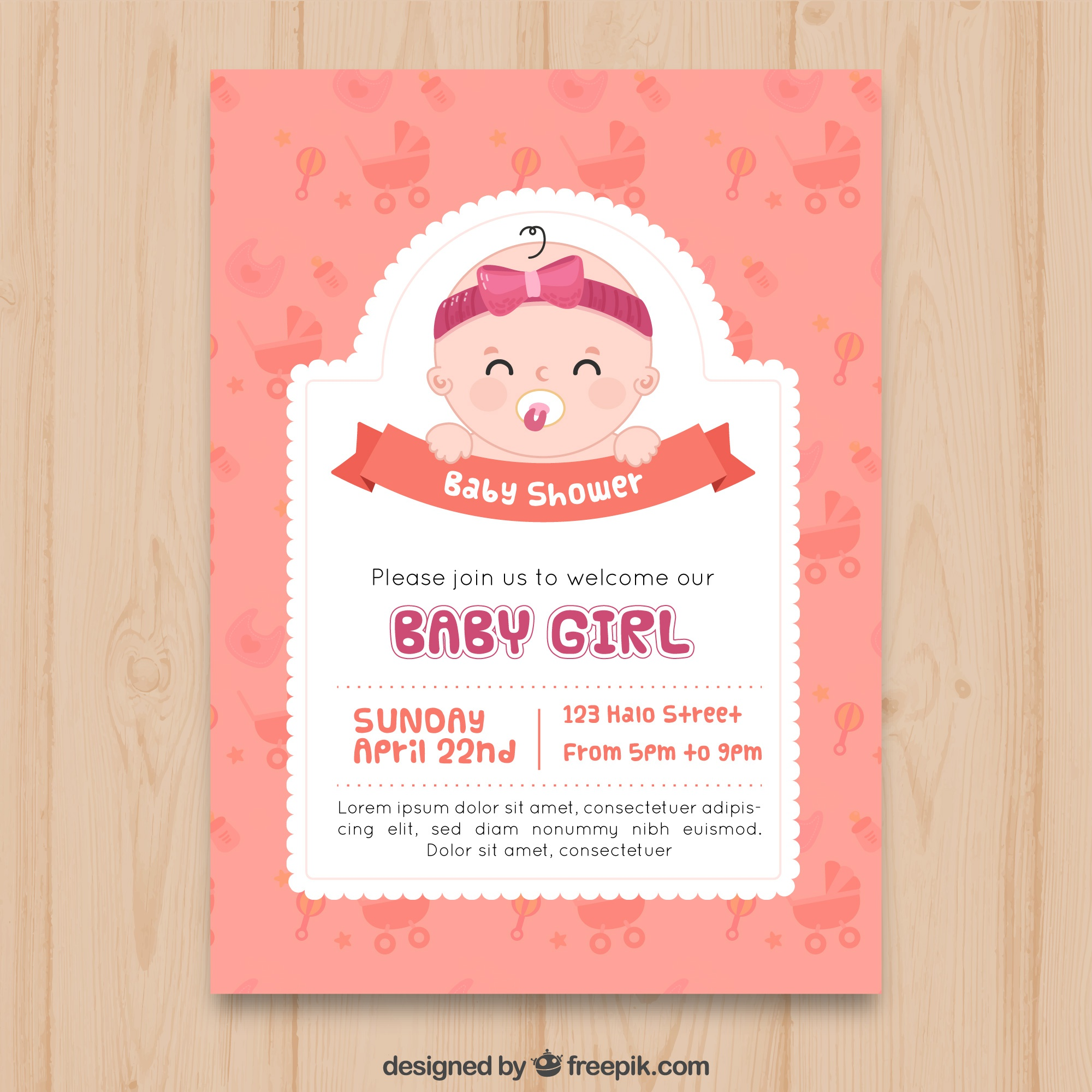 Baby shower invitation in hand drawn style