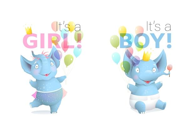 ベビーシャワーの招待状またはグリーティングカード。生まれたばかりのかわいい象のデザインそれは男の子であり、それは風船の誕生日パーティーのチラシポスターデザインを備えた女の子の動物のリアルな漫画です。