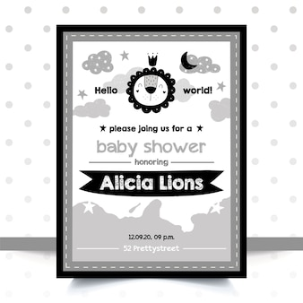 Baby shower invitation in the scandinavian style. a lion.