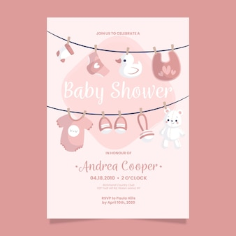 Baby shower invitation template for baby girl