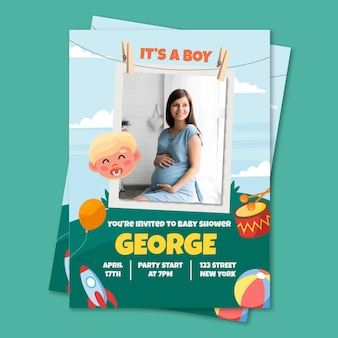 Baby shower invitation template for boy theme