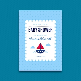 Baby shower invitation template for boy with boat