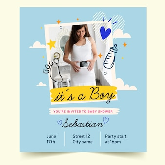 Baby shower invitation template (boy)