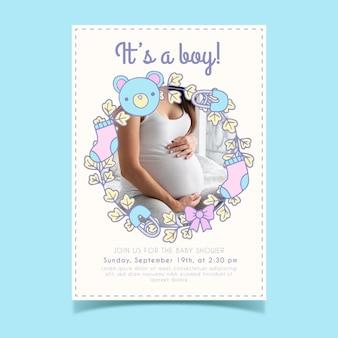 Modello di invito baby doccia per ragazzo