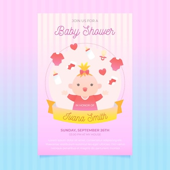 Baby shower invitation template concept