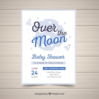 Baby shower invitation template in flat style