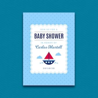ボートを持つ少年のベビーシャワーの招待状のテンプレート