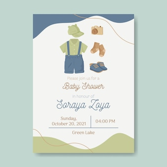 Baby shower invitation template gender neutral in earth tone color