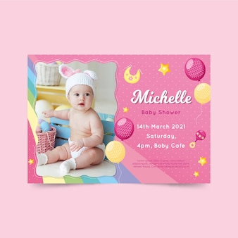 Baby shower invitation template for girl concept