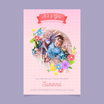 Baby shower invitation template for girl design