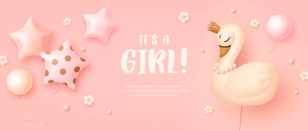 Baby shower invitation template for girl