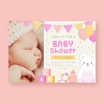 Modello di invito baby shower per ragazza