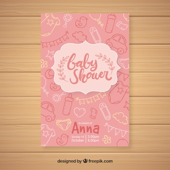 Baby shower invitation template in hand drawn style