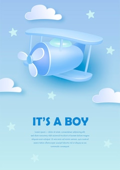 Baby shower invitation template with airplane and clouds