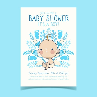Baby shower invitation template with baby boy