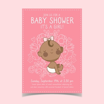 Baby shower invitation template with baby girl