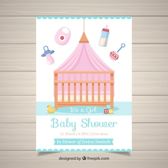 Детский душ приглашение шаблон с кроватью