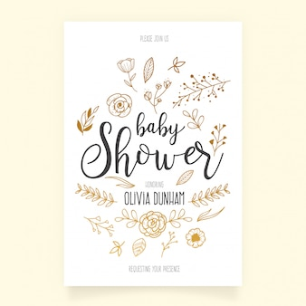 Baby shower invitation template with hand drawn ornaments