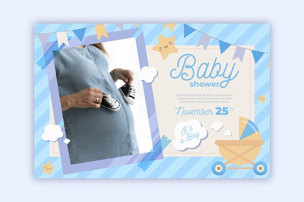 Baby shower invitation template with photo (boy)