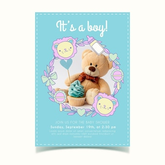Modello dell'invito della doccia di bambino con la foto per il ragazzo