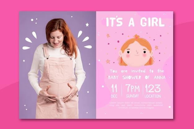 写真(女の子)とベビーシャワーの招待状のテンプレート