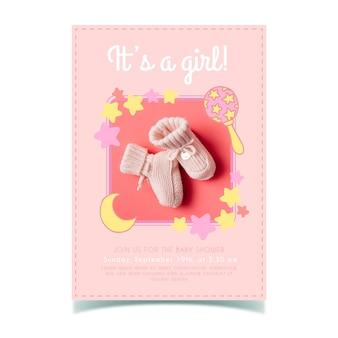 女の子の写真とベビーシャワーの招待状のテンプレート