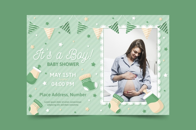 Baby shower invitation template with photo of pregnant mother