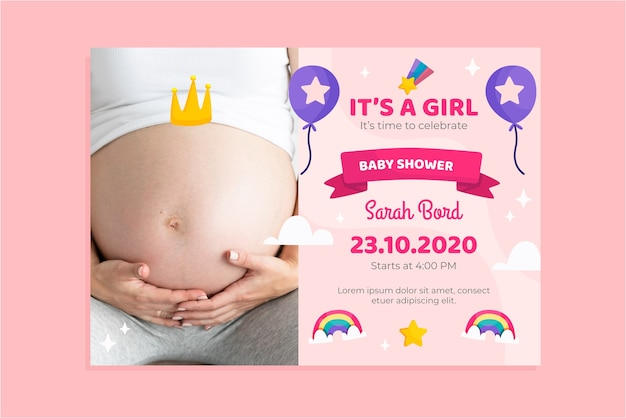 Baby shower invitation template with photo