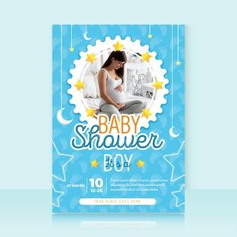 Шаблон приглашения baby shower с фото